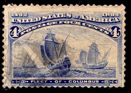 US Stamp #233 4c Columbian USED SCV $8.00