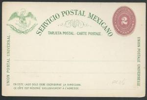 MEXICO 1880s 2c postcard unused............................................60378