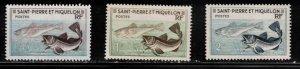 ST PIERRE & MIQUELON Scott # 351-3 MH - Codfish