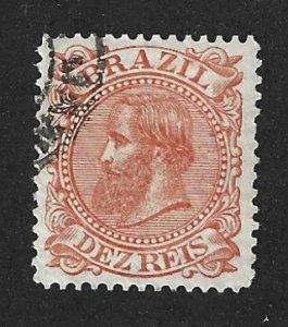 BRAZIL Scott #86 Used 10r Emperor Dom Pedro stamp 2022 CV $3.25