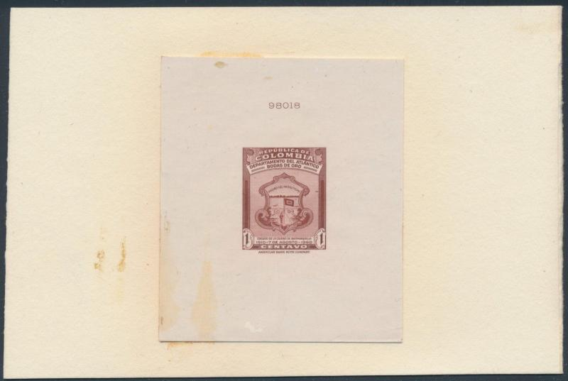 COLOMBIA UNLISTED DIE PROOF ON INDIA CITY OF BARRANQUILLA W/ CONTROL # BS3541