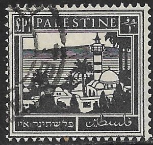 PALESTINE 1927-42 £1 Gray Black Tiberias and Sea of Galilee Pictorial Sc 84 VFU