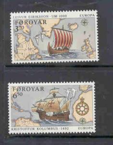 Faroe Islands Sc 236-7 1992 Europa stamp set mint NH