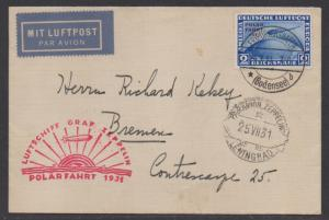 **Germany Graf Zeppelin Cover, SC# C41, Tied to Cover, Black CDS, 7/15/1931