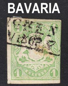 Germany Bavaria Scott 15 F+ used.