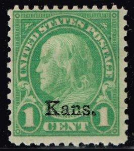 US STAMP #658 1c Kansas Ovpt. 1929 MH/OG