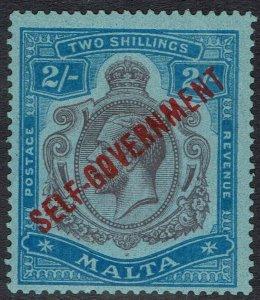 MALTA 1922 SELF GOVERNMENT KGV 2/- VARIETY BREAK IN SCROLL WMK MULTI SCRIPT CA