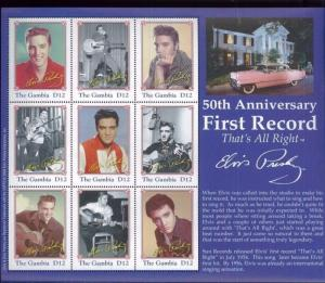 ELVIS PRESLEY First Record Thatss All Right Commemorative Sheet of 9 Gambia E112