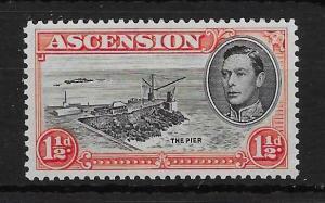ASCENSION SG40ba 1944 1½d BLACK & VERMILION DAVIT FLAW MTD MINT