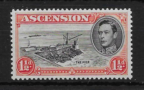 ASCENSION SG40ba 1944 1½d BLACK & VERMILION DAVIT FLAW MTD MINT