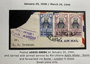 1940 Addis Ababa Ethiopia Airmail Front Cover To Rome Italy Ala Littoria