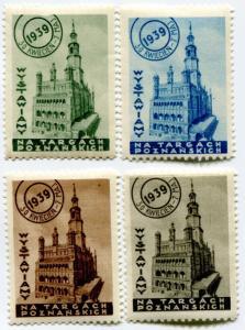 1939 Poznan Pavilion Trade show WYSTAWA Expo Poster Stamp Poland city hall Town