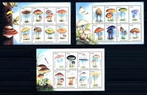 [68968] Angola 1999 Mushrooms Pilze Champignons 3 Sheets MNH