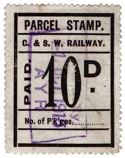 (I.B) Glasgow & South Western Railway : Parcel Stamp 10d (Ayr)
