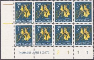 NEW ZEALAND 1960 3d Kowhai plate block 2111 mint............................1696
