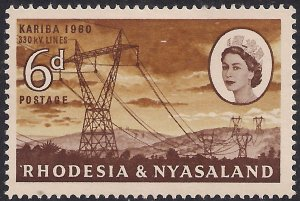 Rhodesia & Nyasaland 1960 QE2 6d Power Lines MM SG 33 ( L1158 )