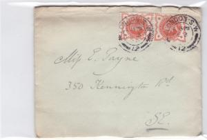 britain  1900 ½d  stamps pair entire cover and letter  ref r14530
