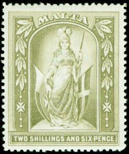 MALTA SG34, 2s 6d olive-grey, LH MINT. Cat £45.