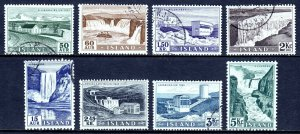 ICELAND — SCOTT 289-296 — 1956 WATERFALL PICTORIAL SET — USED — SCV $22.15
