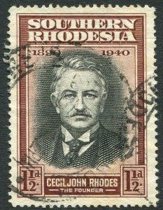 SOUTHERN RHODESIA-1940 B.S.A.C Golden Jubilee 1½d Black & Red-Brown FINE USED