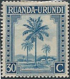 Ruanda-Urundi 73 (mhr) 30c oil palms, dull blue (1942)