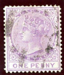 Lagos 1867 QV 1d lilac-mauve very fine used. SG 10. Sc 7.