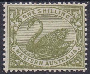 WESTERN AUSTRALIA 1898 SWAN 1/- WMK W CROWN A