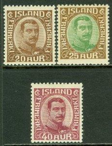 EDW1949SELL : ICELAND 1920-22 Scott #119, 120, 123 Very Fine, Mint OG. Cat $134.
