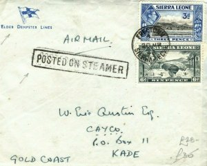 SIERRA LEONE PAQUEBOT Cover GB Plymouth *POSTED ON STEAMER*Gold Coast 1948 PB350