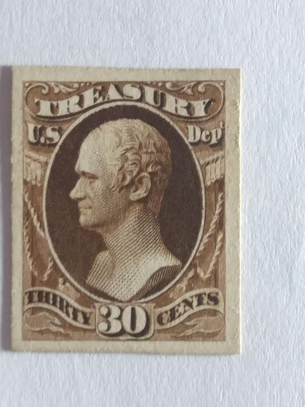 SCOTT # O81P CARD PROOF 30 CENT TREASURY NOTE GREAT COLOR AND GREAT CENTERING !!