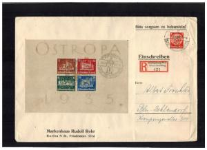 1935 Konigsberg Germany Oversize cover tio Berlin Ostropa Souvenir Sheet # B68