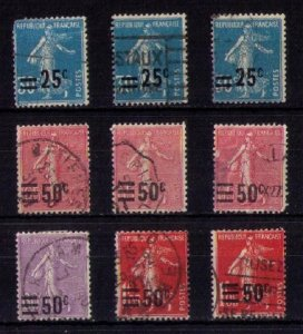 FRANCE 1926-1927 Used Sc 227-230,234 Sower SurchargedNot A Complete Set F-VF