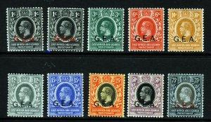 TANGANYIKA King George V 1917-21 G.E.A. Overprints Set to 75c. SG 45 to 54a MNH