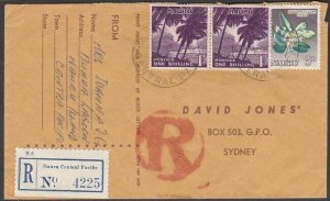 NAURU 1965 2/5d rate registered cover to Sydney - mixed issues..............M589