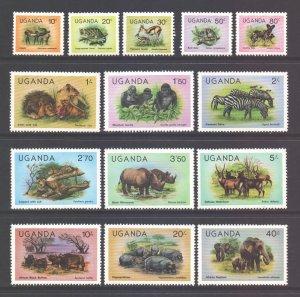Uganda Scott 279/292 - SG303a/316a, 1979 Animals Set MH*