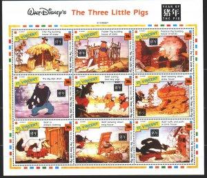 Saint Vincent and the Grenadines. 1995. Small sheet 3042-50. Disney, cartoons...