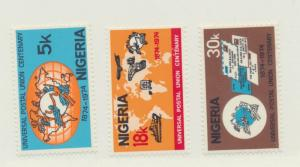 Nigeria Scott #321 To 323, Globe and UPU Emblem Issue 1974, Mint Never Hinged...