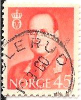 Norway 363 (used) 45ø King Olav V, scarlet (1958)