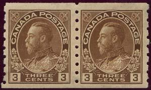 Canada USC #129 Pair Mint VF-H 1918 3c Brown Coil - Cat. $100.00