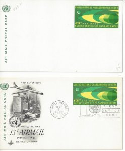 United Nations New York UXC6 Postal Card Mint and Artcraft FDC