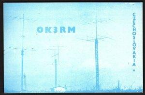 QSL QSO RADIO CARD OK3RM,Photo of Antennas, Czechoslovakia (Q2637)
