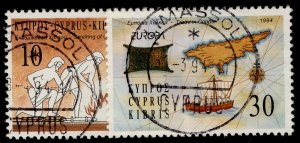 CYPRUS QEII SG847-848, 1994 Europa discoveries set, FINE USED.