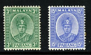 PAHANG MALAYSIA 1941 Sir Abu Bakar 3c & 15c.Final Printings SG 31 & SG 39 MINT