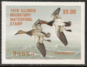 U.S.-ILLINOIS 4, STATE DUCK HUNTING PERMIT STAMP. MINT, NH. VF