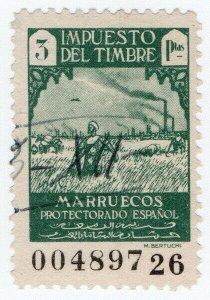 (I.B) Spanish Morocco Revenue : Duty Stamp 3Ptas