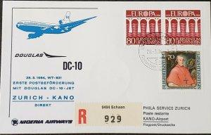 Swissair First Flight 1984 Zurich Kano Europa Stamp