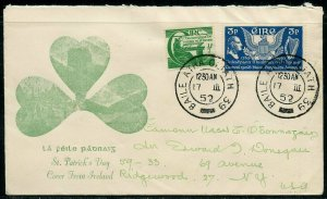 IRELAND 1952 ST. PATRICK'S  DAY COVER TO NEW YORK