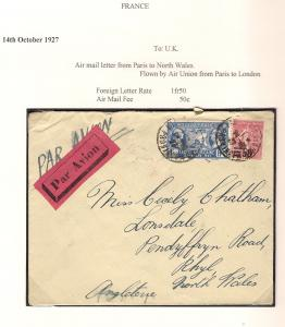 France 1927 Legion Americaine Airmail Flown Cover to Rhyl Wales