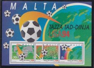 Malta # 838a, World Cup Soccer, Souvenir Sheet, Mint NH, 1/2 Cat..