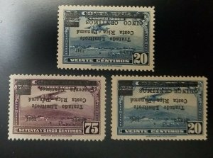 A) 1945, COSTA RICA, AIRMAIL WITH INVERTED OVERPRINT, SIGNED SANABRIA, AMERICAN